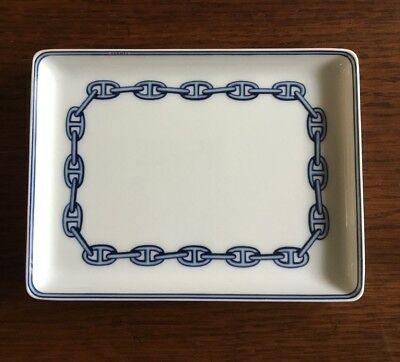 NWT Authentic Hermes Chaine d'Ancre Navy/White Porcelaine Sushi Plate XLNT WOW!