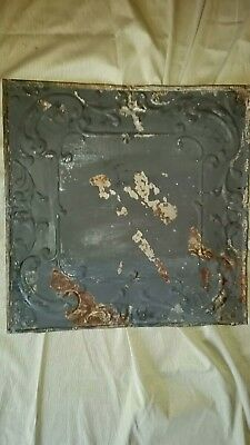 "Tin ceiling 24"" x 24"" Full Piece Antique  Vintage Reclaimed Salvage Art Craft"