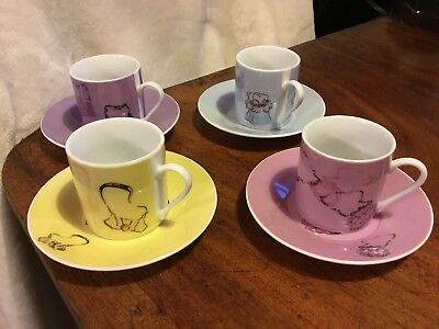 Set of 4 Expresso Coffee Cups and Saucers Multi Colours Hand Bag Design