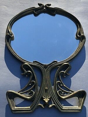 Authentic Art Nouveau Cast Bronze Vanity Mirror Genuine Antique Art Deco Brass