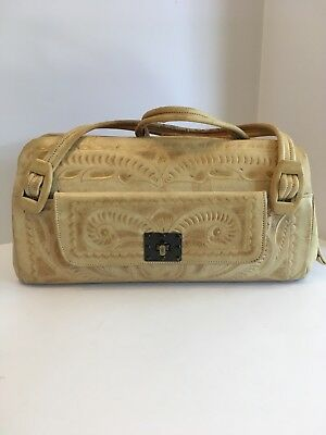 Vintage Hand Carved Tooled Blonde Leather Purse Made In Mexico