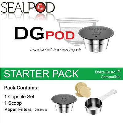 SealPod Stainless Steel Reusable Coffee Capsule Dolce Gusto Pack w/ Paper Filter