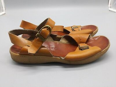 5b8accc940d43 Vintage 1970s Bibiana Famolare Womens Brown Leather Ankle Strap Sandal Size  9.5M