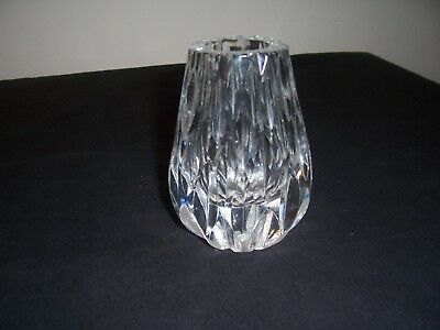 lead crystal cut glass, small bud vase. Heavy.