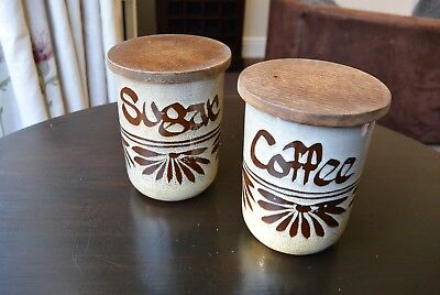 Vintage Wellhouse Pottery - Brixham -  Coffee and Sugar Jar with Wooden Lid