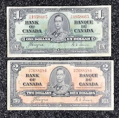 1937 Coyne Towers Bank Of Canada $1 & $2 Note Set
