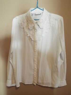 Vintage 1980s Kathy Che Lovely Beaded Blouse Size 14