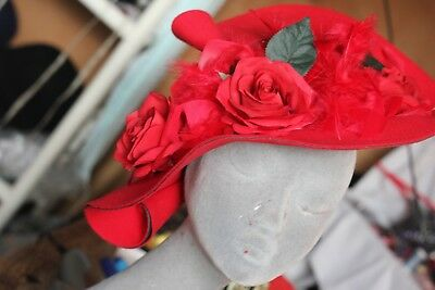 WOW! SPECTACULAR Vintage 1940's Style Red Hat.Roses/Feathers/Wedding/Ascot.