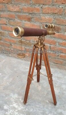 Collectible Antique Brass Leather Telescope With Wooden Tripod Marine Gift
