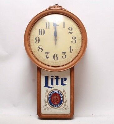 Vintage Miller Lite Electric Beer Sign Wall Clock December 1987