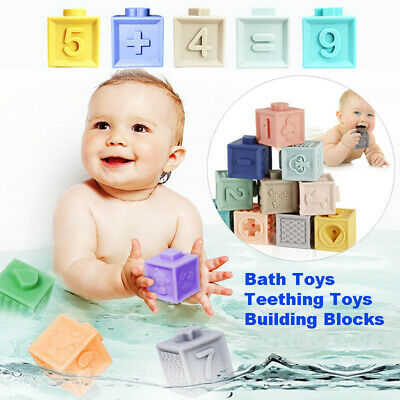 Silicone Baby Soft Building Blocks Educational Teaching Training  Games Toys