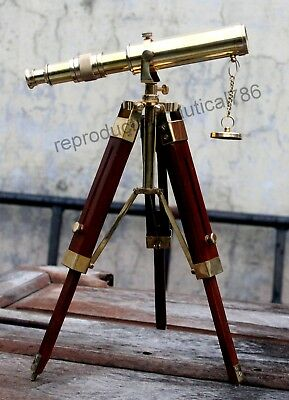 Handmade Brass Pirate Spyglass Telescope Vintage Marine Scope With Wooden Tripod