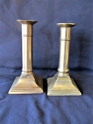 "Pr Antique Vintage 6"" Brass Push-Up Candlesticks Candle Holders"