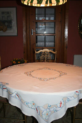 Beautiful Quality Vintage Large Hand Embroidered Tablecloth.