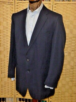 "vintage suit HARDY AMIES at HEPWORTHS french blue stripe 48"" chest 42"" waist"