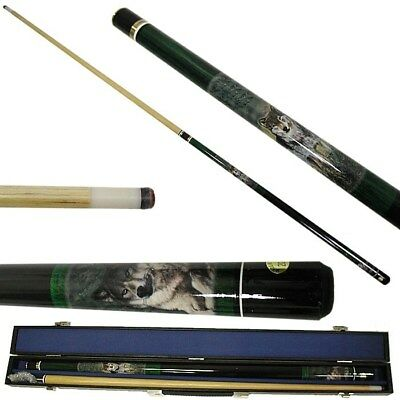 Wolf 2 Piece Pool Stick with Case Billiard Cue with 6 Replacement Tips