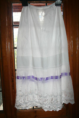 Antique Victorian/Edwardian Ladies Fine Quality Petticoat Broderie Anglaise Trim