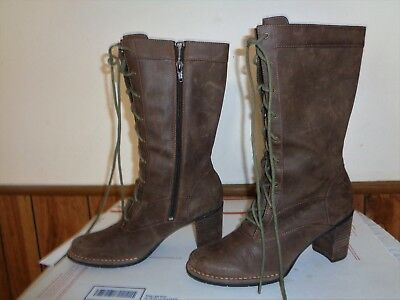 Clarks Indigo ROVE 6.5 Lace-Up Combat Granny Boots Oiled Nutmeg Brown Leather