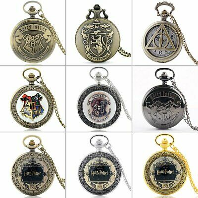 Vintage Harry Potter Theme Quartz Pocket Watch Pendant Necklace Chain Classic