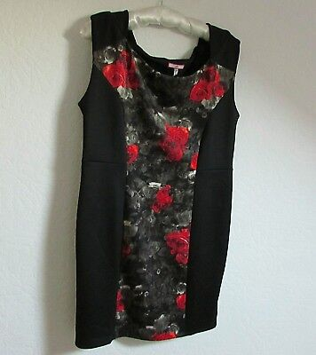 JOE BROWNS Stretchy Red & Black Floral Dress Size 18 New