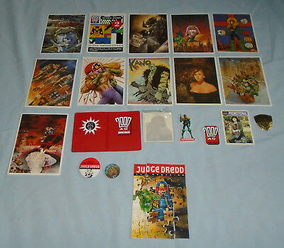 2000Ad Judge Dredd Magazine Free Gifts: Postcards,badges,puzzle,transfers,wallet