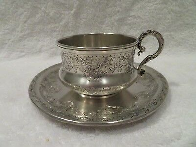 late 19th c french sterling silver tea cup rococo St birds 228g 8,04oz