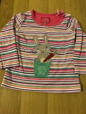 Cute Baby Girls Joules Top Age 12-18 Months Pink, Rabbit, Striped