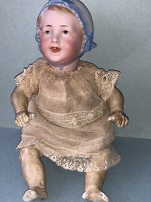 """Early German 1890's Antique 9"""" Recknagel German Character Baby Doll All Original"""