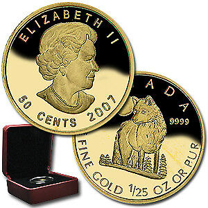 2007 Canada 1/25 oz Proof Gold $0.50 The Grey Wolf - SKU#32033