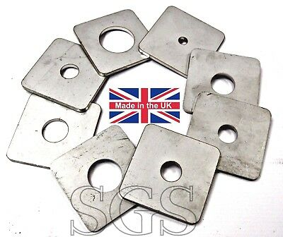 3 mm SQUARE PLATE WASHERS A2 STAINLESS STEEL 50 & 75 mm x 3.0 mm Thick M6 - M25