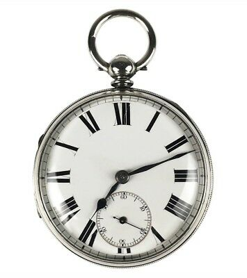 Large Antique Sterling Silver English Fusee Pocket Watch, Dated 1874, Working