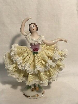 Dresden Figurine Lace German Porcelain Lady in Yellow