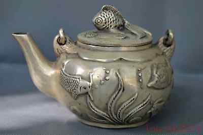 Old Chinese Collectable Miao Silver Hand Carve Goldfish Auspicious Rare Tea Pot
