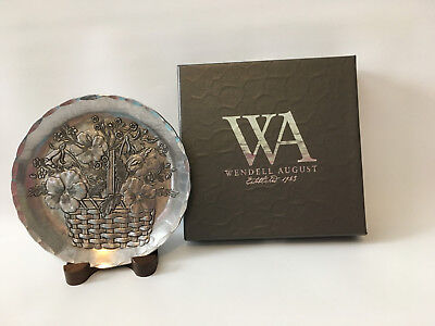 Wendell August Metal Decorative Coaster Plate with Longaberger Spring Basket