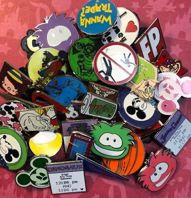 33 Disney Pins Lot Puffles Attractions Cheshire Mickey Fast Pass Pendant 25 50
