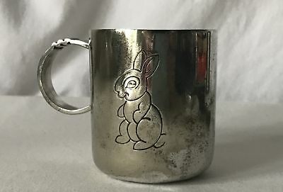 Vintage Silver Plated (EPNS Stamped on Base) Christening Mug Rabbit Design