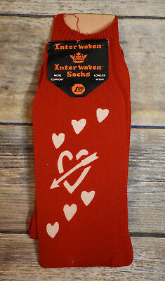 Vintage NOS Mens Interwoven Red Valentine Love Heart Socks Stockings
