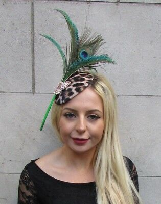 Black Gold Feather Leopard Animal Print Hat Fascinator Races Wedding Hair 6596