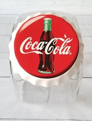 Coca Cola Glass Cookie Jar Canister Candy Vintage Red Clear, Soda Top Lid Cover