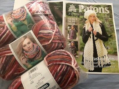 600 Grams Patons Fab Big Scarf Pattern Clown Red Pink Shade 0093 Scarf Knit Kit