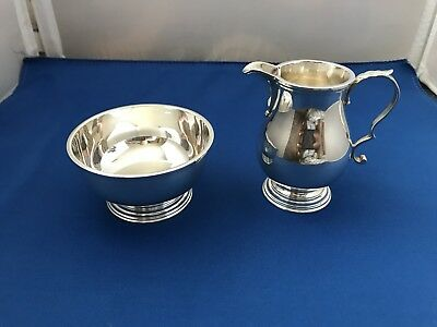 Vintage Tiffany & Co Makers Sterling Silver Creamer & Sugar Bowl Set Hallmark