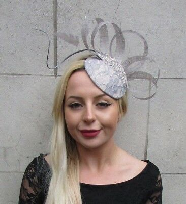 Grey Nude Silver Diamante Feather Pillbox Hat Races Wedding Hair Fascinator 6598