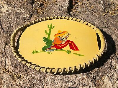 """Vintage Mexican Painted Folk Art TRAY ON BOARD AND ROPE 15"""" BY 11"""""""