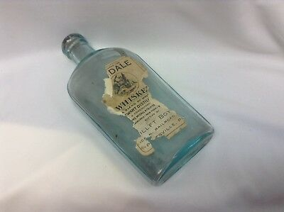 Antique Green Glass Warranted OVAL Whiskey Bottle Flask Pottsville,Pa