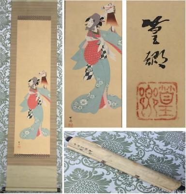 ANTIQUE c.1900 JAPANESE SIGNED KAKEJIKU SCROLL PAINTING ON SILK - BIJIN & PUPPET