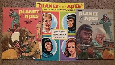 Vintage Lot of 3 Planet of the Apes Coloring Activity Books New and unused Clean