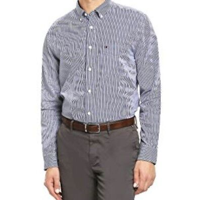 41dbc591 Tommy Hilfiger Men Long Sleeve Classic Fit Stripe Button Down Shirt Blue  NWT XL