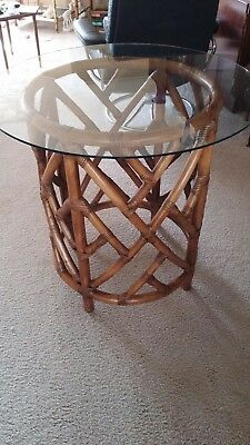"Ornate Round Rattan Table Base Made In the Philippines 28"" Tall 22"" Across"
