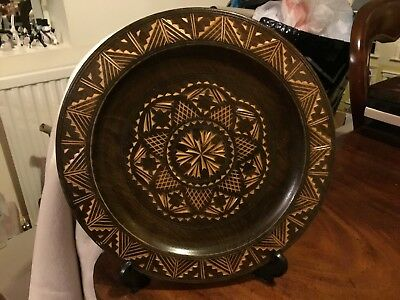 Vintage Black Forest wood Hand carved shallow wood Plate 10""