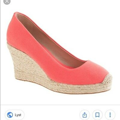 ff8123f7491f J. CREW Coral Canvas Espadrille Straw Wedge Heels size 6.5 (with Box)